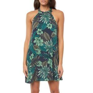 O'Neill Felice Leaf Print Halter Minidress